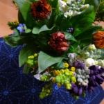 刺し子キットの「麻の葉」模様花ふきん完成しました♪